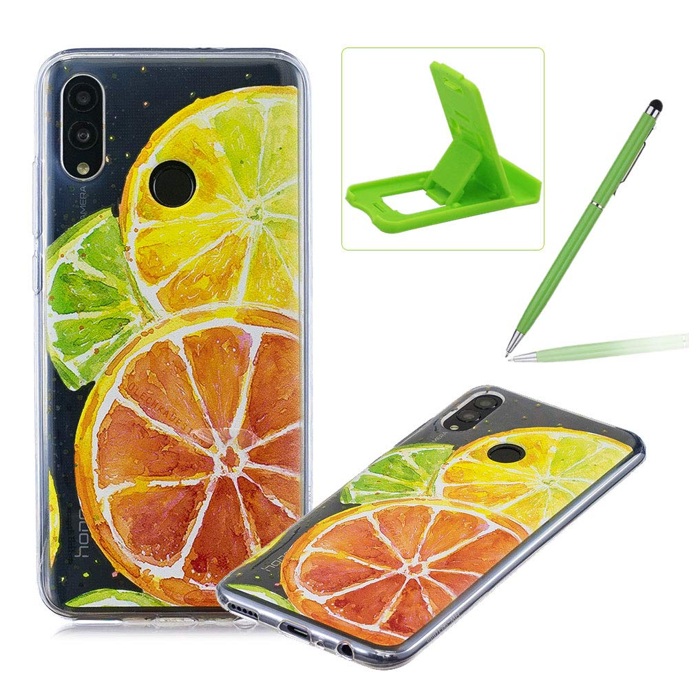 Rubber Case for Huawei Honor 10 Lite,Herzzer Premium Stylish [Lemon Slice Printed] Scratch Resistant Ultra Thin Soft Gel Silicone Transparent Clear Crystal Slim Fit TPU Back Cover
