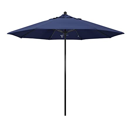 California Umbrella 9 Round 100 Fiberglass Frame Market Umbrella, Push Lift, Black Pole, Navy Blue Olefin