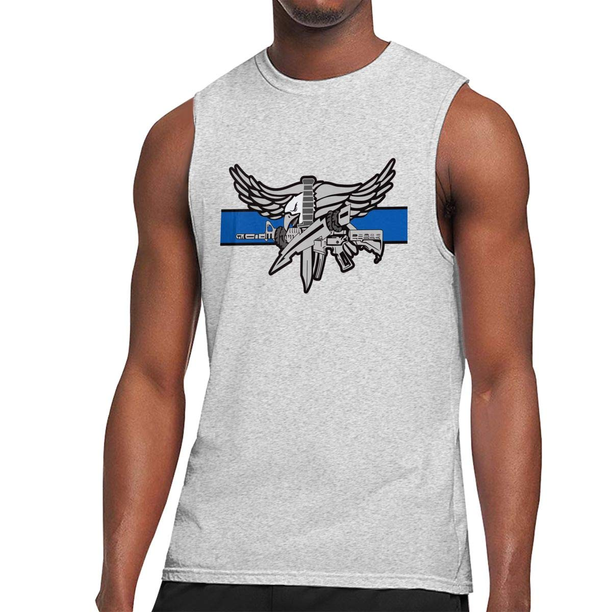 Police Swat Thin Blue Line Decal Mens Sleeveless Activewear Top Jersey