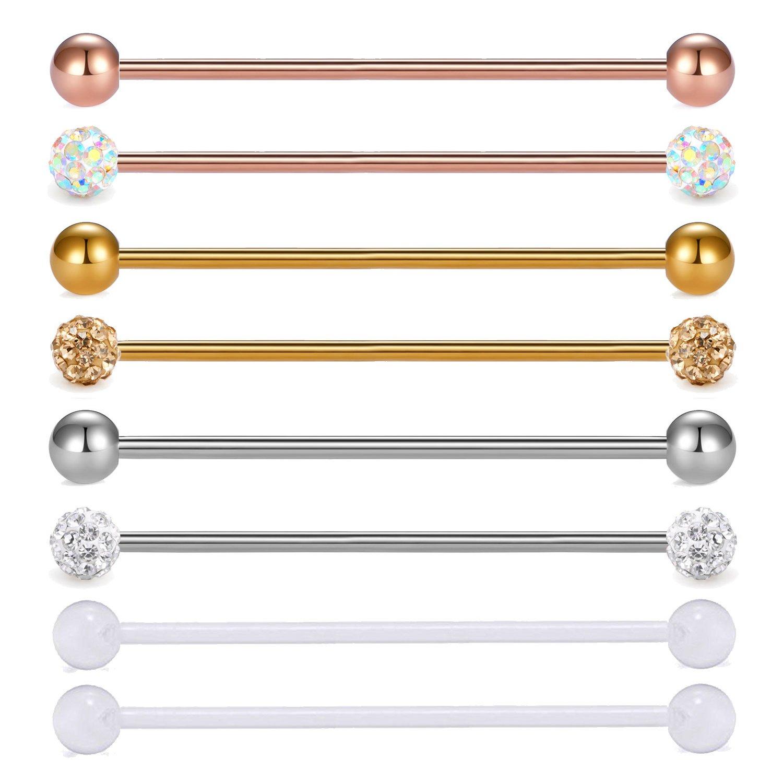 """JFORYOU Cartilage Earring Barbells 14 gauge Surgical Steel Industrial Barbells For Women Men 1 1/2""""(38mm) Plastic Retainer,Glod, Rose Gold, Silver"""