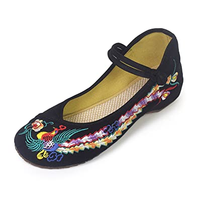 f3fc5c14d61 R V Fashion Women Shoes Walking Dancing Embroidery Vintage Mary Jane Flats  (3.5 UK (Insole