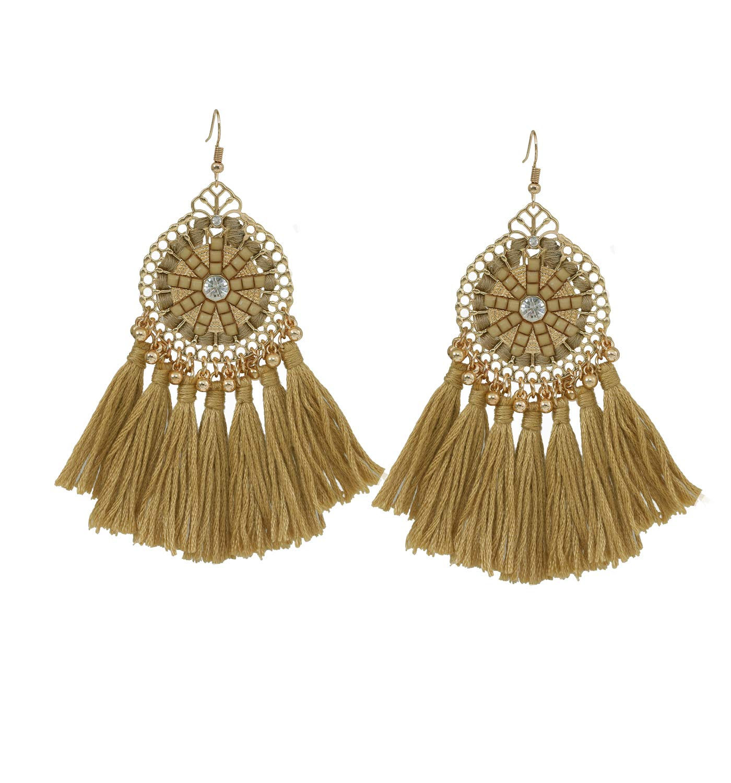 HSWE Multicolored Short Tassel Dangle Earrings for Women African Beades Thread Fringe Earrings for Girls (coil brown)