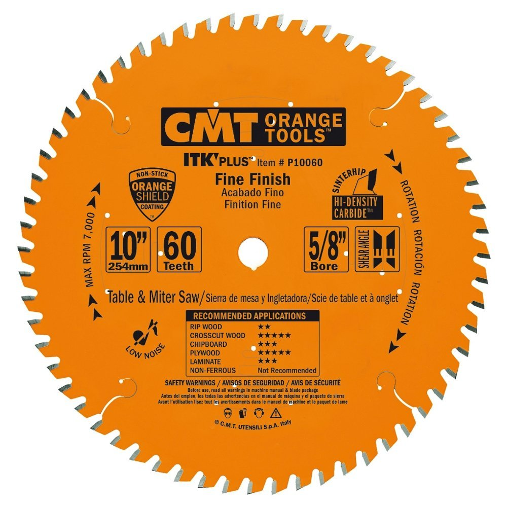 CMT P10060 ITK Plus Finish Saw Blade, 10 x 60 Teeth, 10° ATB+Shear with 5/8-Inch bore