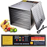 Yescom 1200W 10 Tray Stainless Steel Food Dehydrator Fruit Vegatable Dryer Jerky Maker Commercial 52X42X38CM