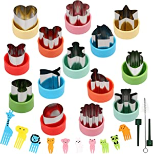 BakingWorld 14 Pcs Vegetable Cutter Shapes Set,1.5 inch Size Mini Pie,Fruit and Cookie Pastry Stamps Mold with 10 Pcs Food Picks and Forks for Kids Baking and Food Supplement Tools Accessories Crafts