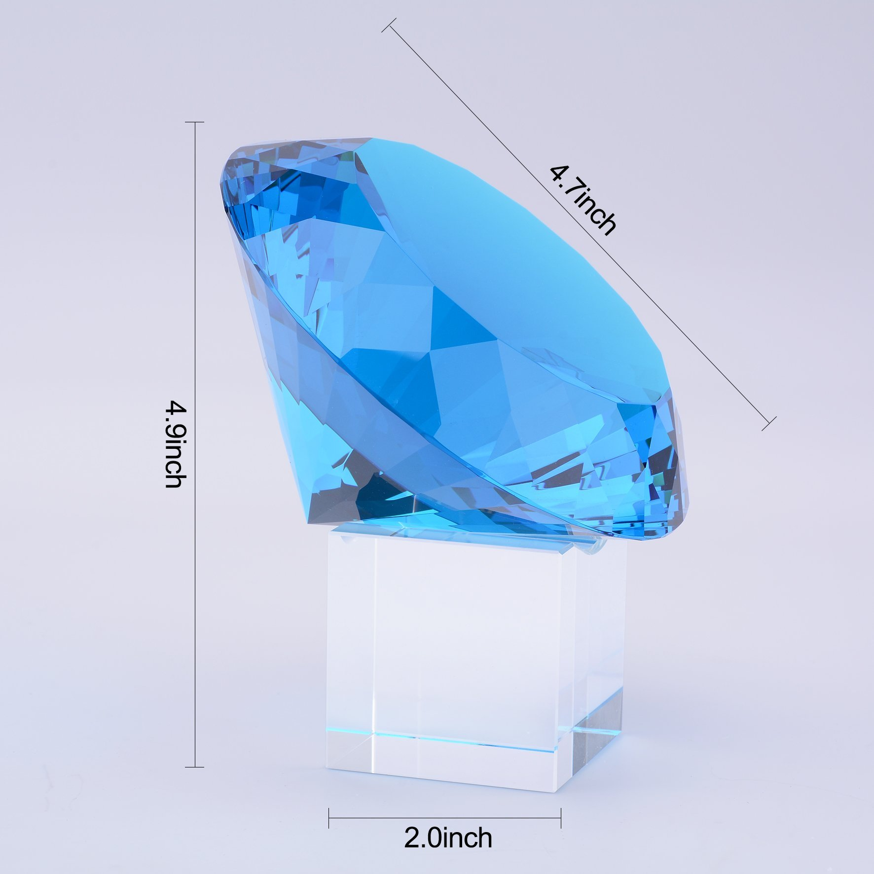 BRLIGHTING Cobalt Blue crystal Diamond Paperweight on stand for Office, Lovely Gift for Friends and Family (D120mm / 4.73'') by BRLIGHTING (Image #4)