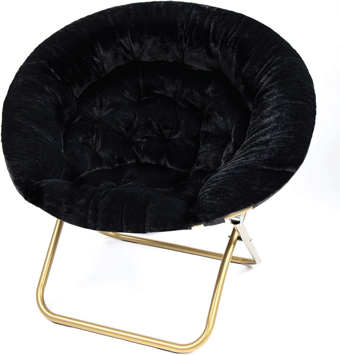 Milliard Cozy Chair/Faux Fur Saucer Chair for Bedroom/X-Large (Black)