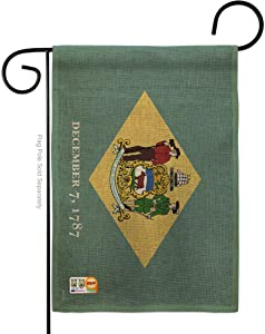 Ornament Collection States Delaware Burlap Garden Flag Regional USA American Territories Republic Country Particular Area Small Decorative Gift Yard House Banner Double-Sided Made in 13 X 18.5