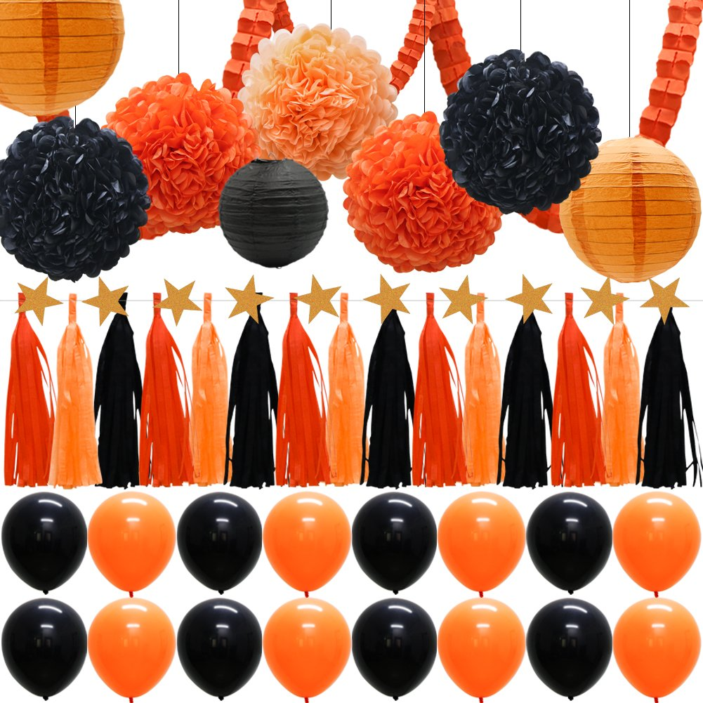 41pcs Party Decorations Supplies Kit - Paper Lanterns Balloons Tassels Hanging Garland Banner Tissue Pom Poms Flowers Clover Garland Paper Garland for Baby Showers Bridal Birthday Halloween Events by KAXIXI