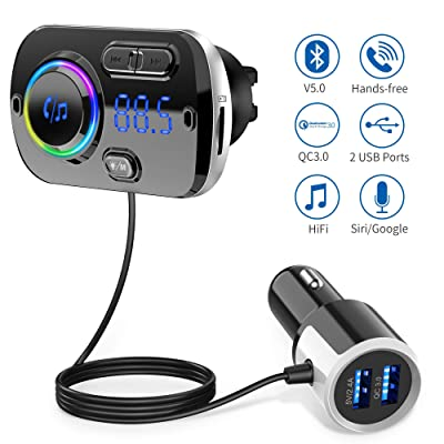 Bluetooth FM Transmitter for Car,Bluetooth 5.0 Radio Car Adapter QC3.0 & LED Backlit with Dual USB Ports Bluetooth Car Lighter Adapter Hand-Free Calling MP3 Music Player Suport TF Card AUX: MP3 Players & Accessories