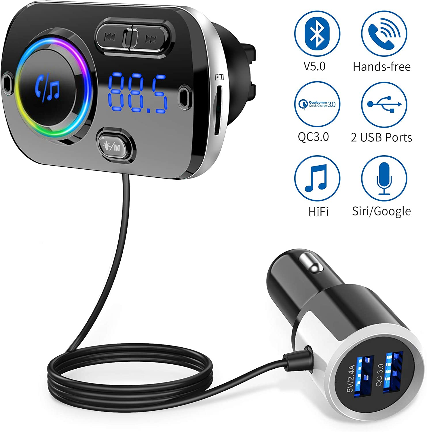 Bluetooth FM Transmitter for Car,Bluetooth 5.0 Radio Car Adapter QC3.0 & LED Backlit with Dual USB Ports Bluetooth Car Lighter Adapter Hand-Free Calling MP3 Music Player Suport TF Card AUX
