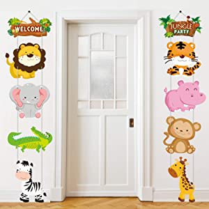 Jungle Animal Themed Party Decorations, Jungle Animal Cutouts Banner, Jungle Animals Theme Party Door Signs for Baby Shower Family Reunion Theme Party Supplies