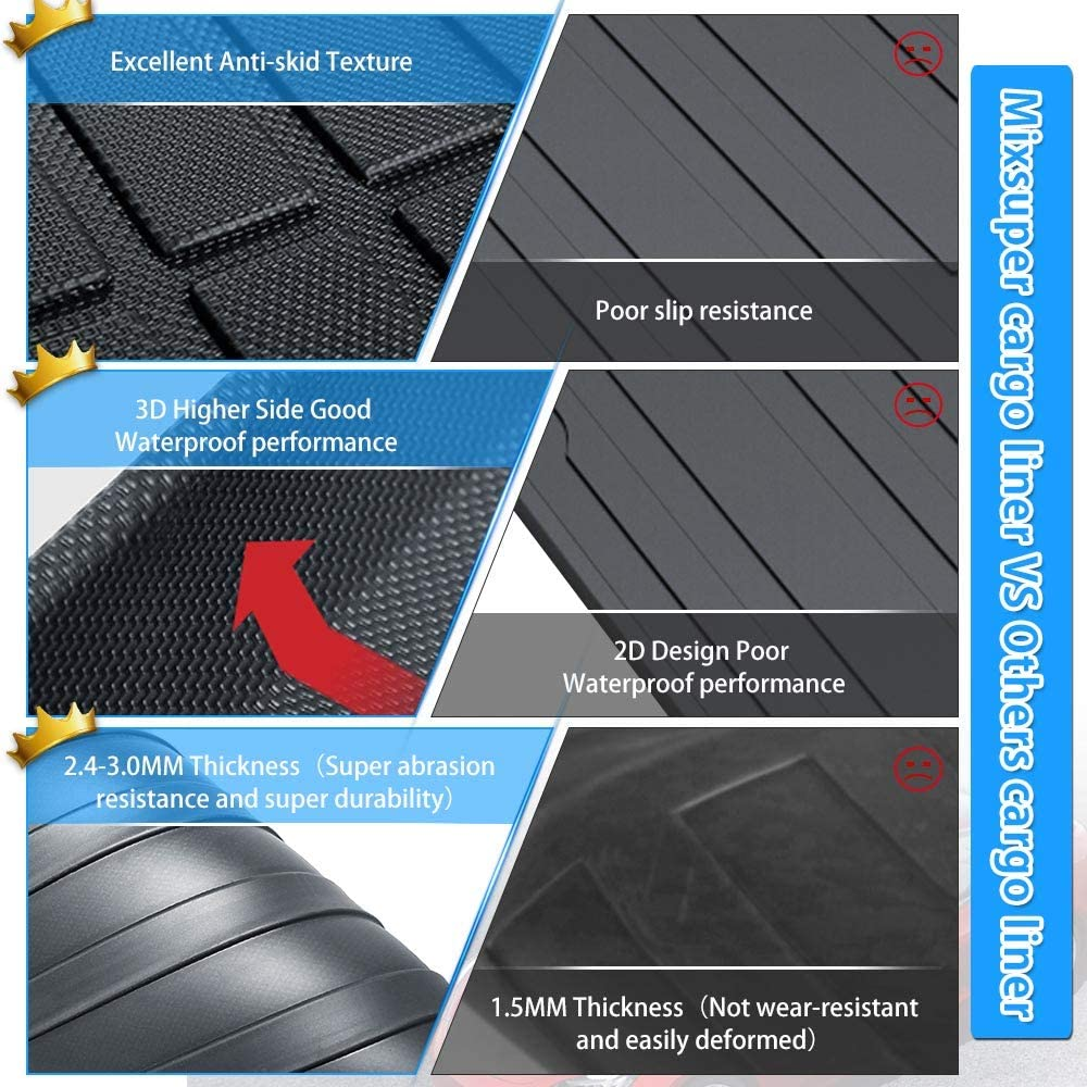 Mixsuper Rear Cargo Liner 3D Upgrade Anti-Slip Durable Odorless Trunk Floor Mat for Jeep Grand Cherokee 2011-2020