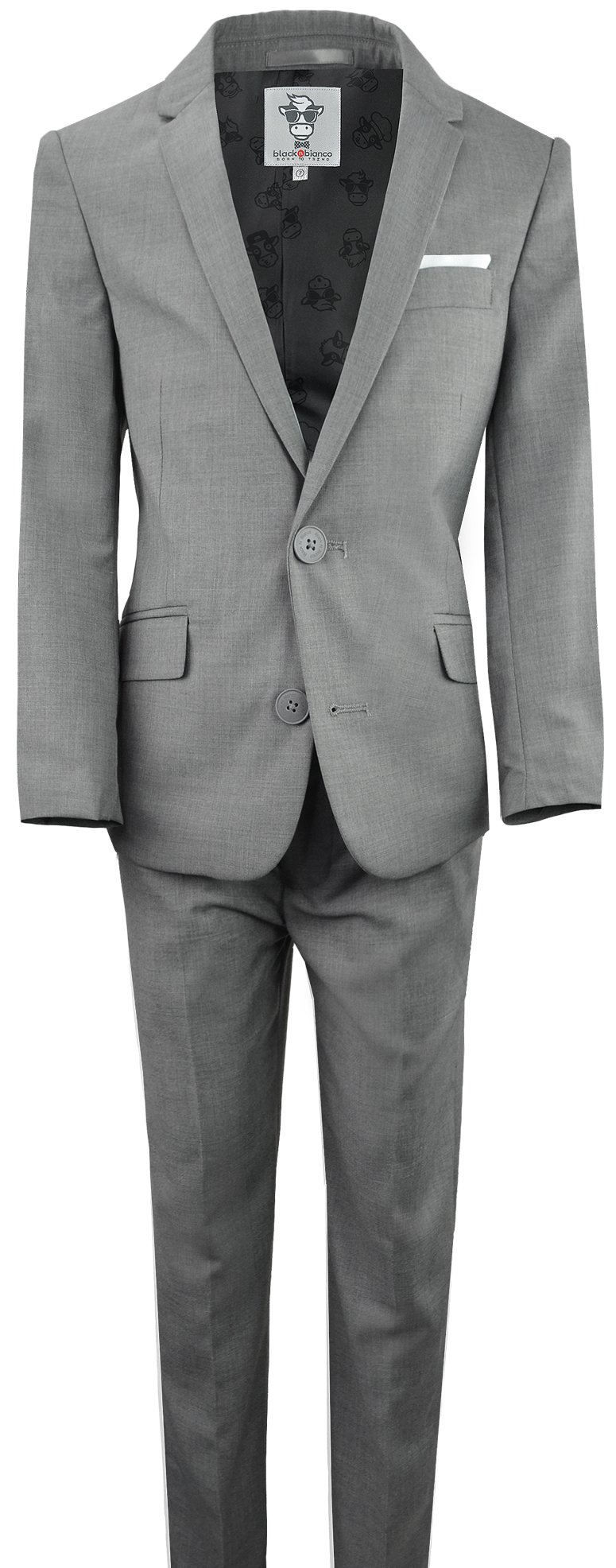 Black n Bianco Boys' First Class Slim Fit Suits Lightweight Style. Presented by Baby Muffin (7, Rustic Gray)