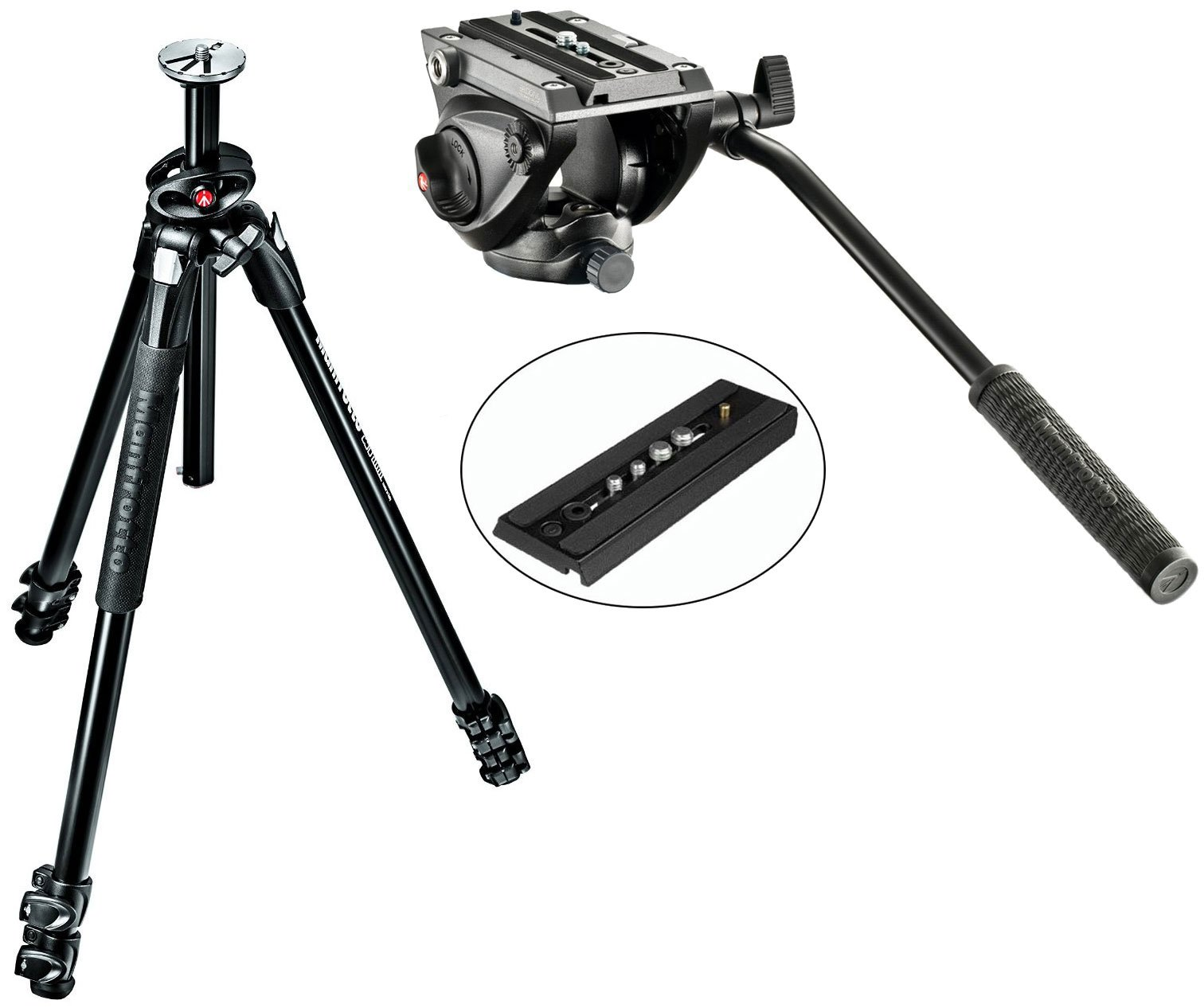 Manfrotto MT290DUA3US 290 Dual 3-Sec Aluminum Tripod Kit With MVH500AH Pro Fluid Video Tripod Head with Flat Base and a Extra Ivation Sliding Plate w/ 1/4''-20 & 3/8'' Fixing Screws by Manfrotto