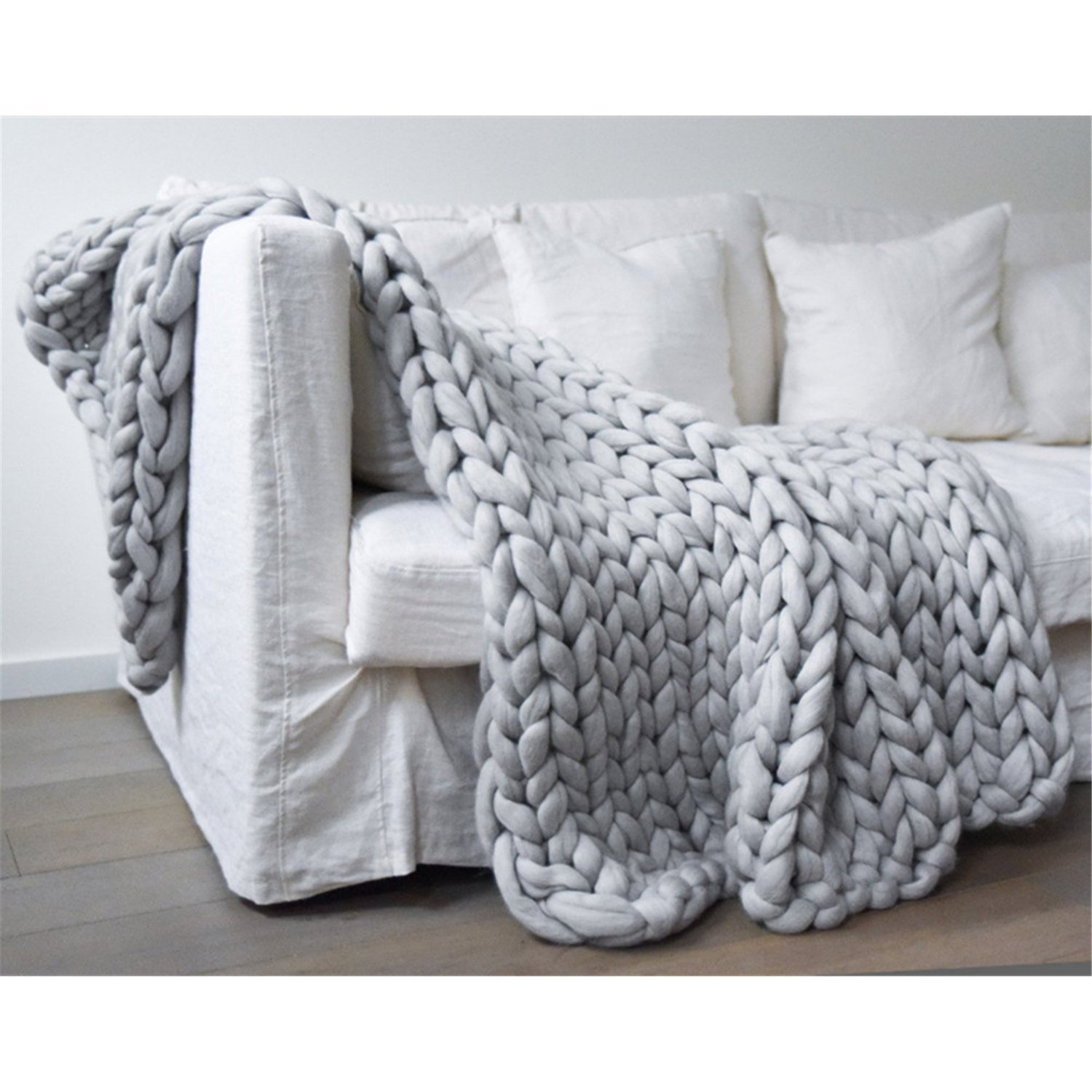 Chunky Knit Blanket Handmade Knitting Yarn Bed Sofa Yoga Throw Super Large Home Decor (Light Grey, 51