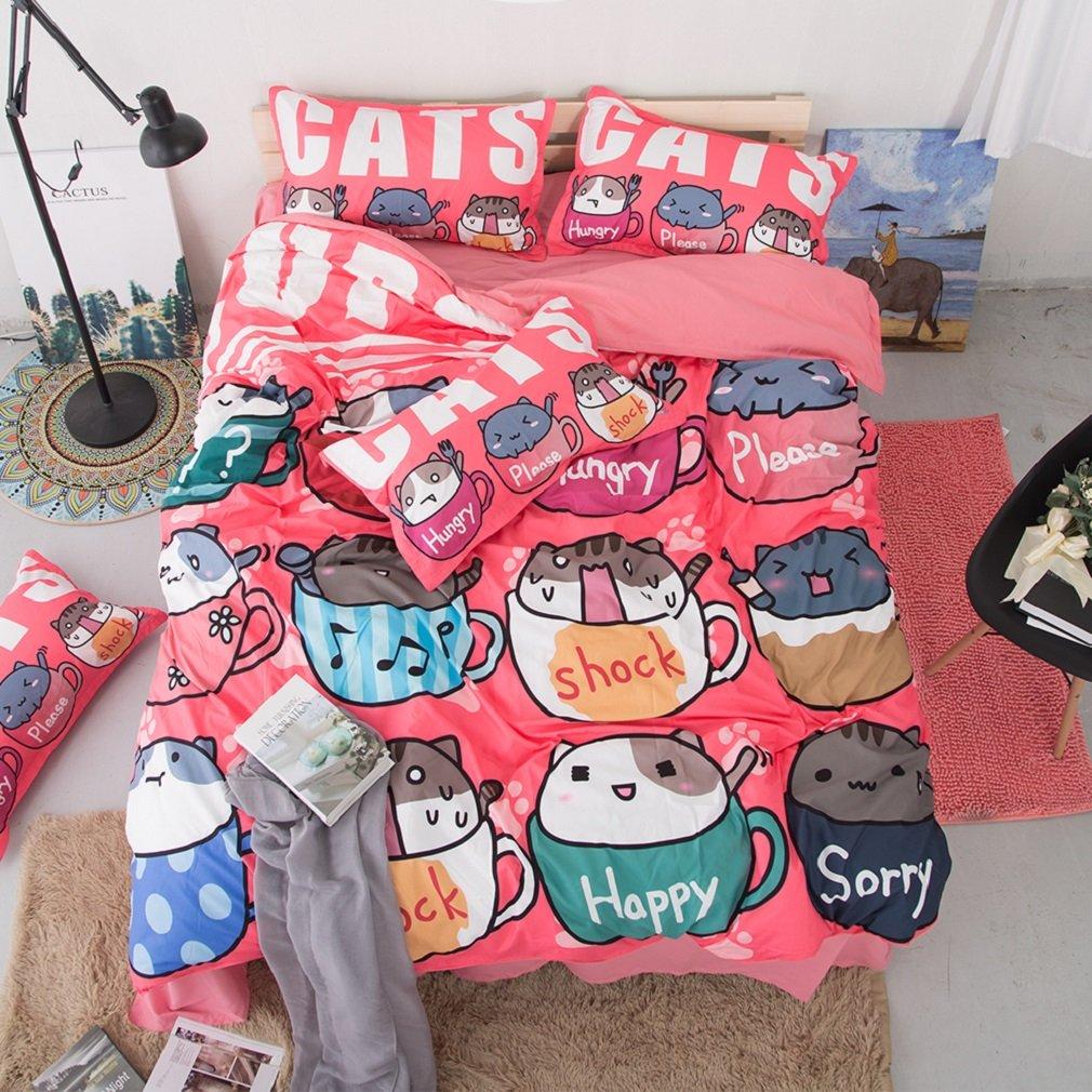 jibuteng Home Textiles taza cat Funda de edredón de juego de ...