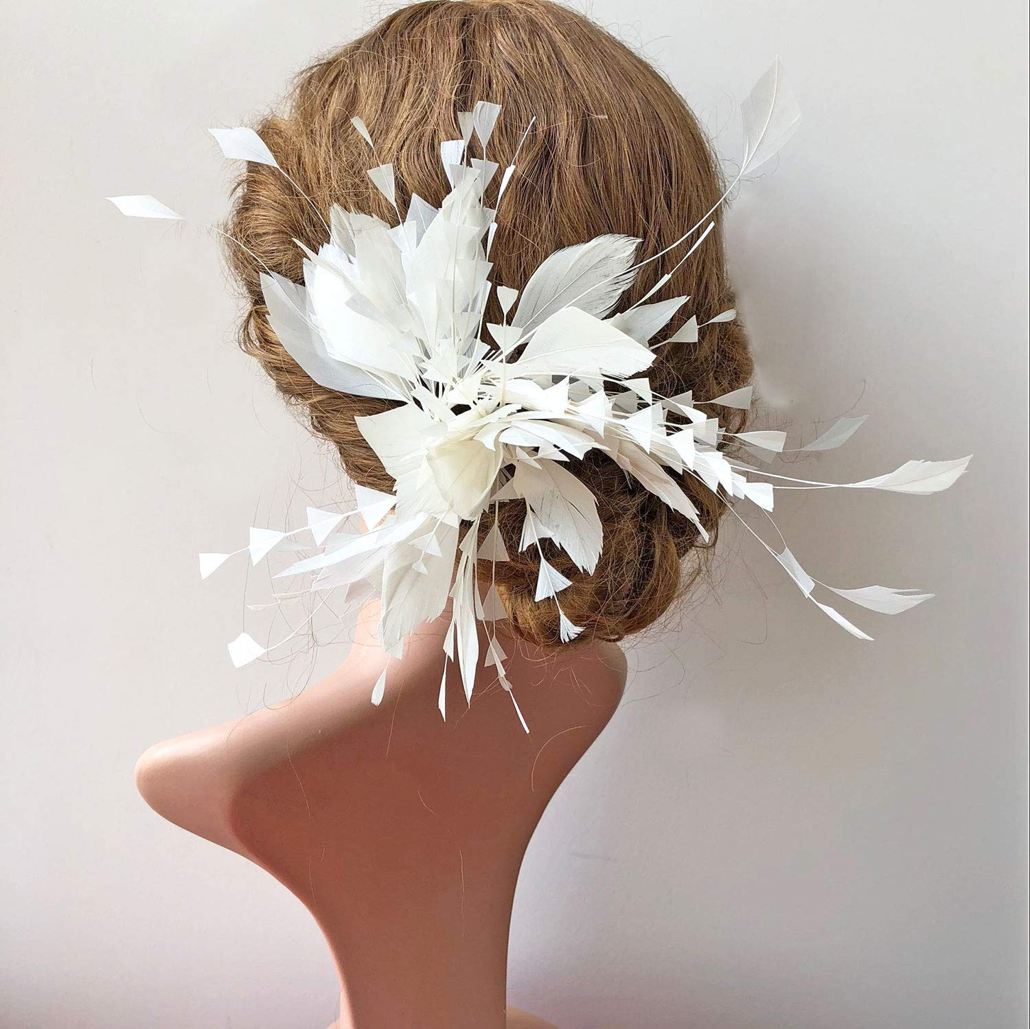 Special Ivory Goose Feather Flower Spray Fascinator Feather Floral DIY Hairwear for Prom Wedding Party