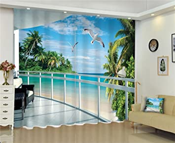 Dbtxwd 3D Curtains Fake Balcony The Outside Beach View Digital Printing  Blackout Noise Reducing Solid Thermal