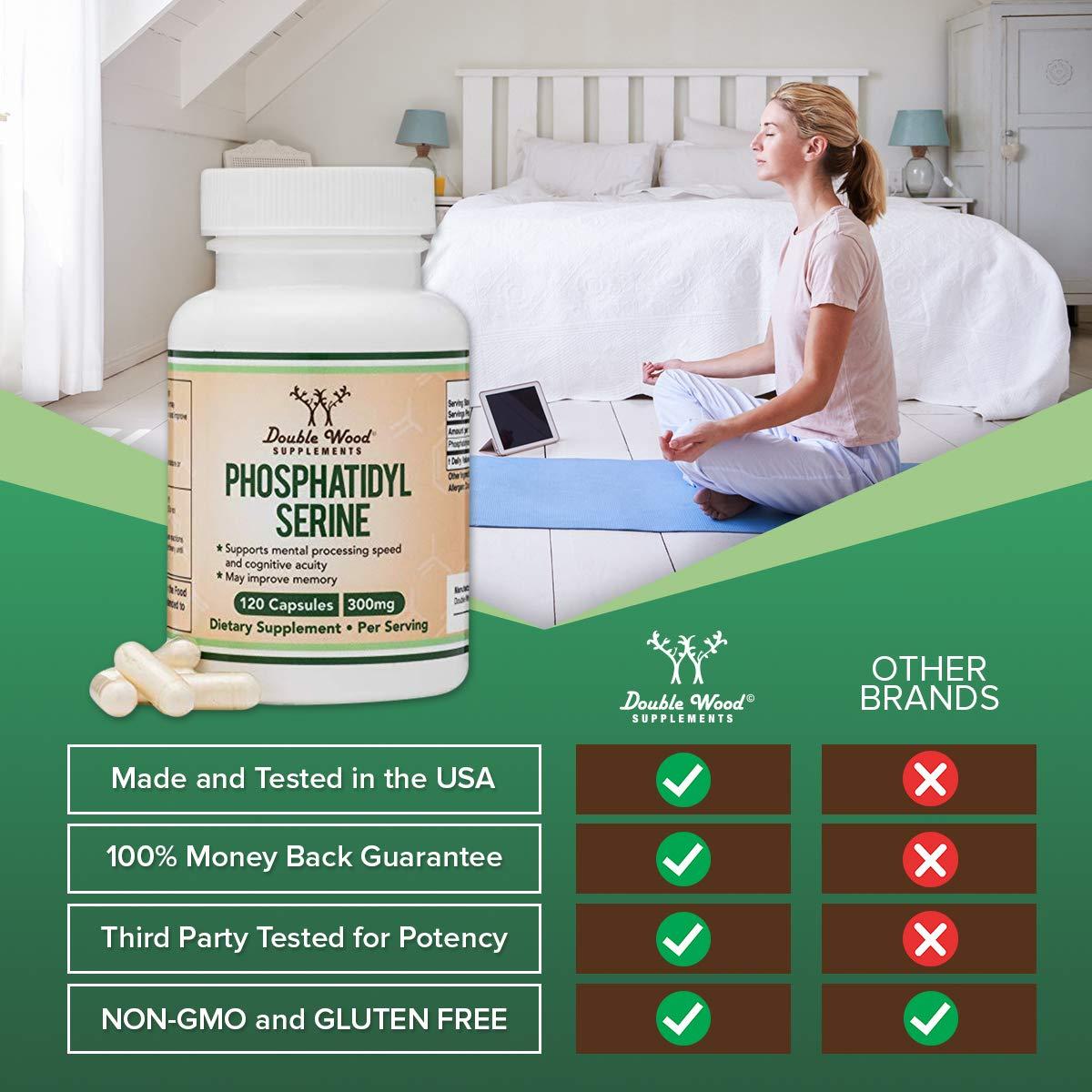 PhosphatidylSerine 300mg Per Serving, Made in The USA, 120 Capsules (Phosphatidyl Serine Complex) by Double Wood Supplements by Double Wood Supplements (Image #5)