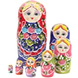 NuoYa005 Beautiful Set of 7 Cutie Nesting Dolls Matryoshka Madness Russian Doll Wooden Wishing Dolls Toy by safeinu