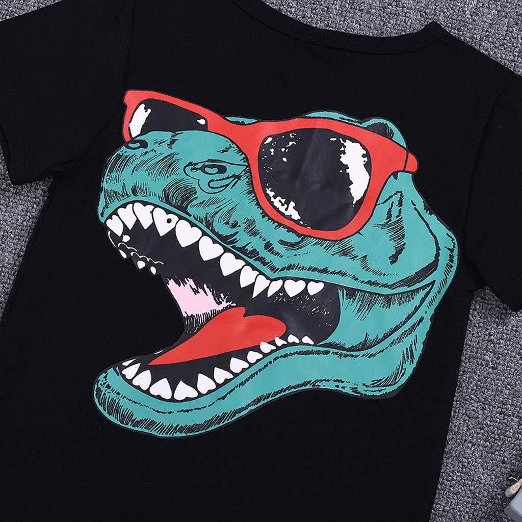 Toddler Kids Baby Boys T-Shirt Short Sleeve Crewneck Casual Tees Summer Fashion Dinosaur Tops