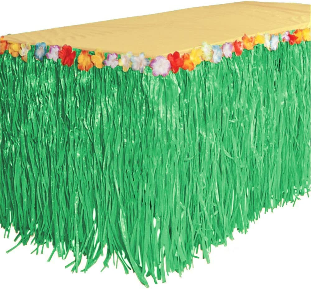 GIFTEXPRESS 9 feet X29 Luau Green Grass Table Skirt, Hawaiian Luau Hibiscus Table Skirt for Hawaiian Party, Luau Party Supplies, Luau Party Decorations, Moana Birthday Party (Green Grass)