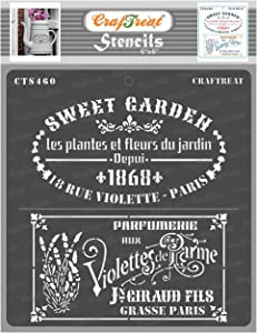 CrafTreat French Stencils for Painting on Wood, Canvas, Paper, Fabric, Floor, Wall and Tile - French Labels - 6x6 Inches - Reusable DIY Art and Craft Stencils - French Label Stencil