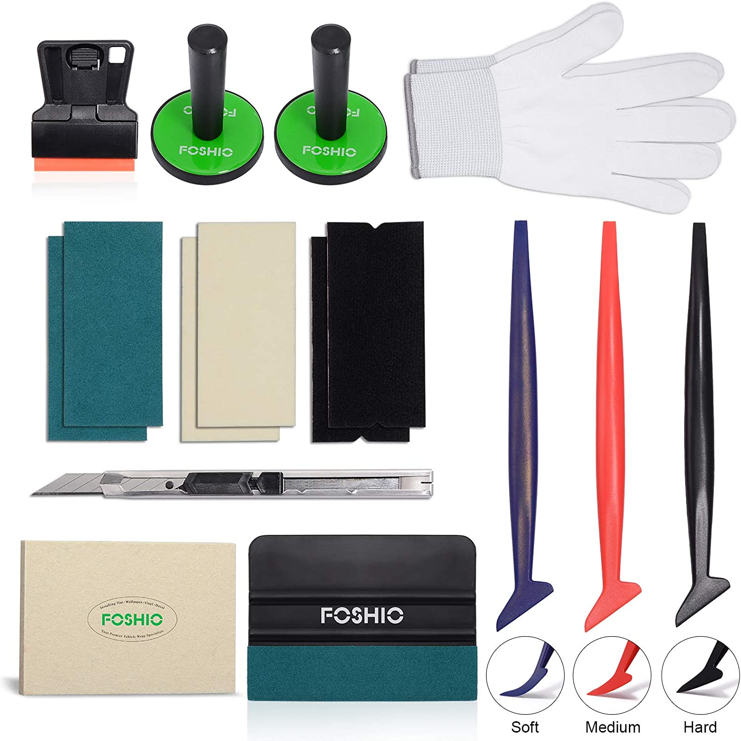 FOSHIO Vehicle Vinyl Wrap Window Tinting Film Tool Kit with Mini Plastic Scraper, Wool Squeegee, Vinyl Cutter, Magnet Holder, Hand Gloves,3 Kinds of Squeegee Felts & Flexible Micro Contoured Squeegee
