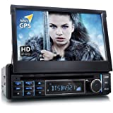 "XOMAX XM-DTSBN921 Autoradio / Moniceiver / Naviceiver mit GPS Navigation + Navi Software inkl. Europa Karten + Bluetooth Freisprechfunktion + 7"" / 18 cm Touchscreen Display 16:9 HD Auflösung (800 x 480 Px) + Codefree DVD / CD Player + USB Anschluss (bis 32 GB!) + Micro SD Speicherkarten Slot (bis 32 GB!) + Multimedia : MPEG4, MP3, WMA, AVI, DivX etc. + Anschlüsse für Subwoofer, Rückfahrkamera & Lenkradfernbedienung + Single DIN (1-DIN) + inkl. Fernbedienung, Einbaurahmen"