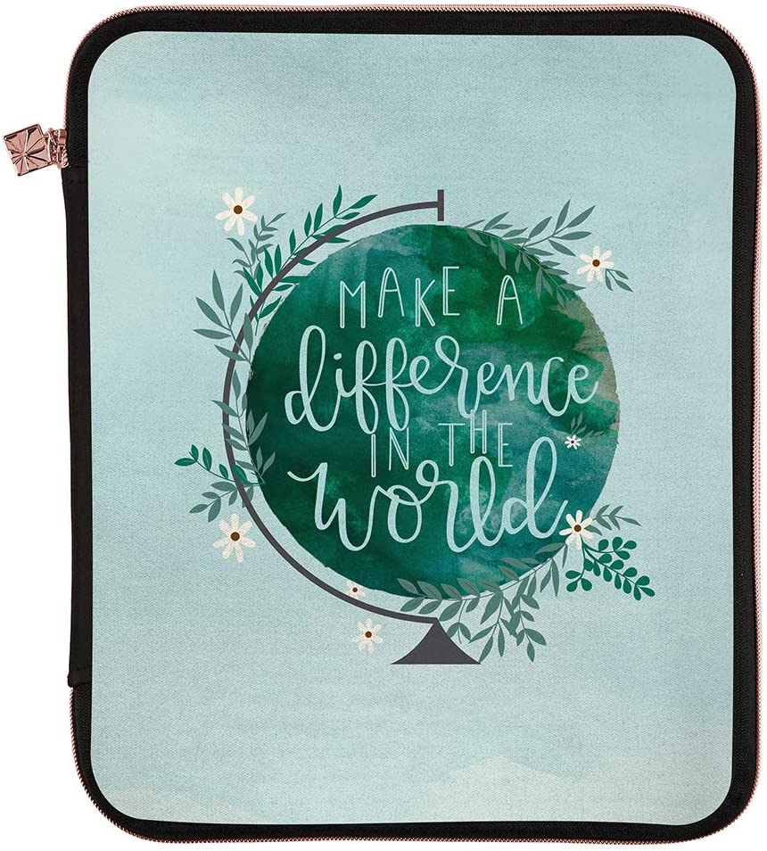 """Erin Condren Planner Folio - Make a Difference - Medium (9"""" x 11"""") - Organize on The Go with Storage for Books, Planners, Notebooks. Use as Laptop Case with Pen Holder, Rose Gold Zipper"""