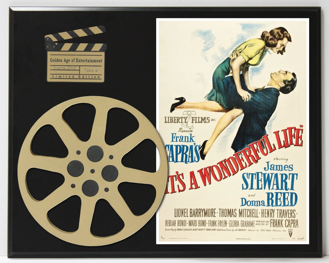 IT'S A WONDERFUL LIFE JAMES STEWART & DONNA REED LTD EDITION MOVIE REEL DISPLAY