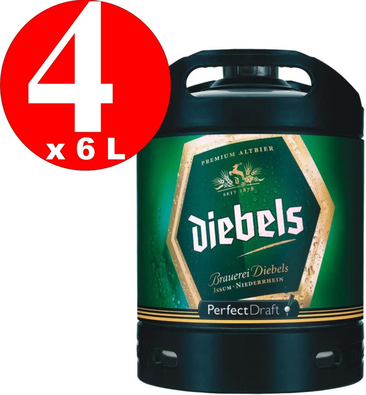 4 x Diebels Alt Perfect Draft barril 6 litros de 4,9% vol.