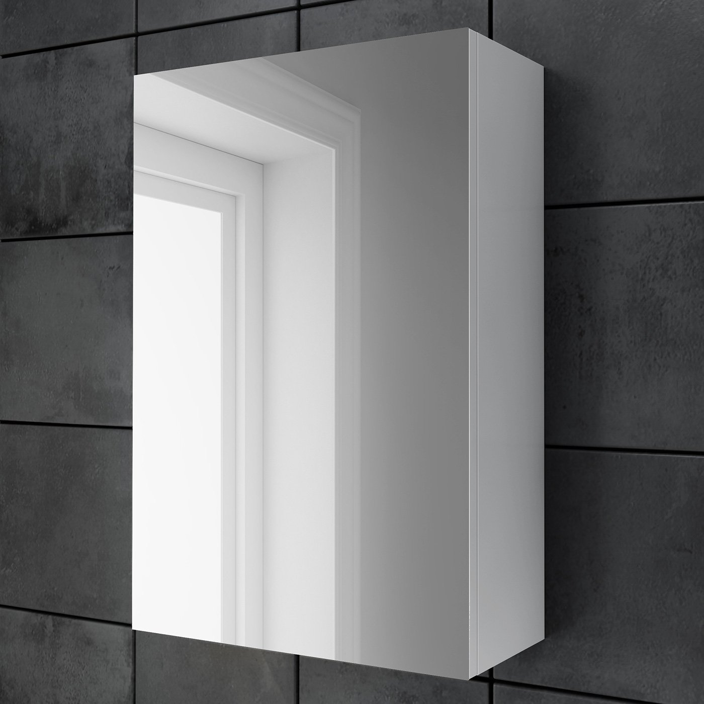 Mirrored Bathroom Cabinets Uk Mirrored White Gloss Wall Mounted Bathroom Cabinet Single Door 2