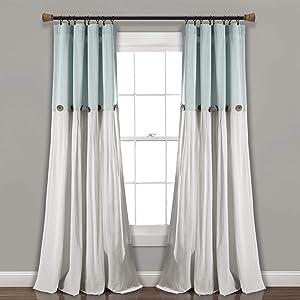 "Lush Decor, Blue/White Linen Button Window Curtain Single Panel, 95"" x 40"""