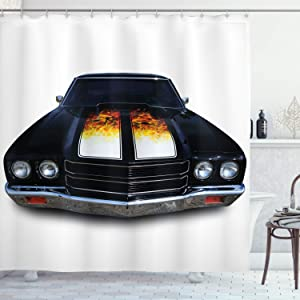 Ambesonne Classic Shower Curtain, Vintage Retro Car with Print in Front Image Art Warm Colored Design, Cloth Fabric Bathroom Decor Set with Hooks, 70