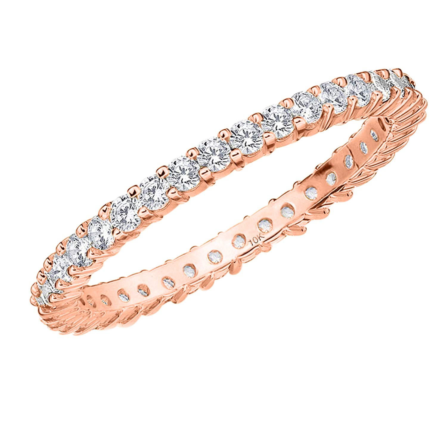 .50CT Passion Eternity Diamond Ring in 10K Rose Gold Shared Prong Setting - Finger Size 8