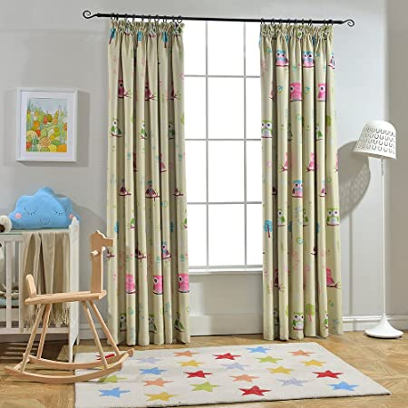 Melodieux Cartoon Owl Room Darkening Thermal Insulated Blackout Pencil Pleat Curtains With 2 Cute Wave Ties