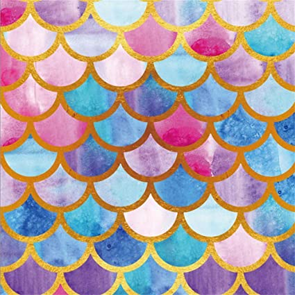 LFEEY 5x5ft Multi Colors Mermaid Tail Scale Backdrop Girls Newborn Infant Portrait Backgrounds for Photography Kids
