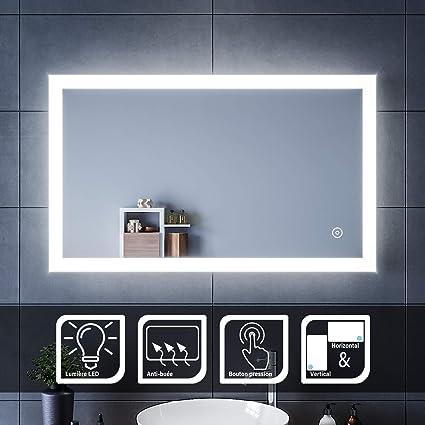 Miroir mural de salle de bain avec LED 100 x 60 cm