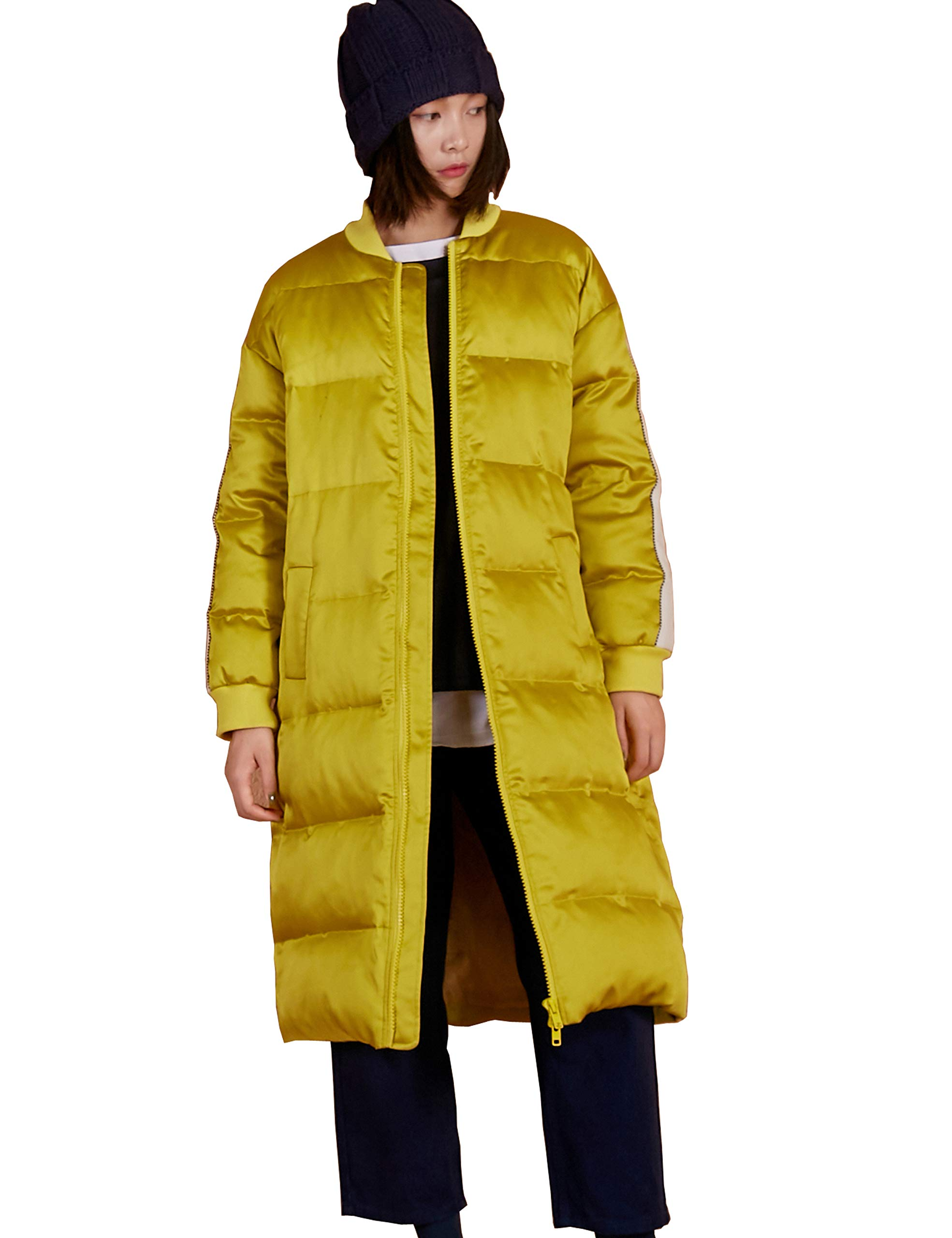 Elf Sack Women Thickened Long Down Parkar, Baseball Style Puffer Down Jacket Winter Outwear Coat