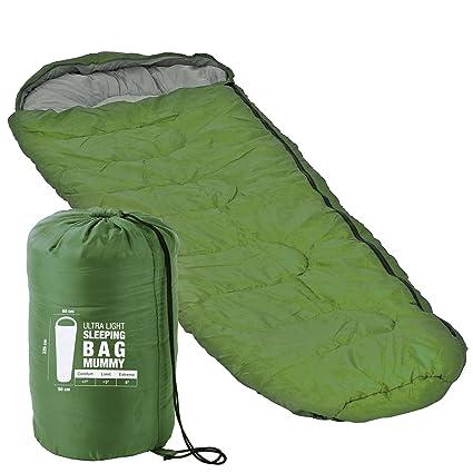 Ultra ligero Saco de dormir verde 225 x 80 x 50 Menos 8 °C