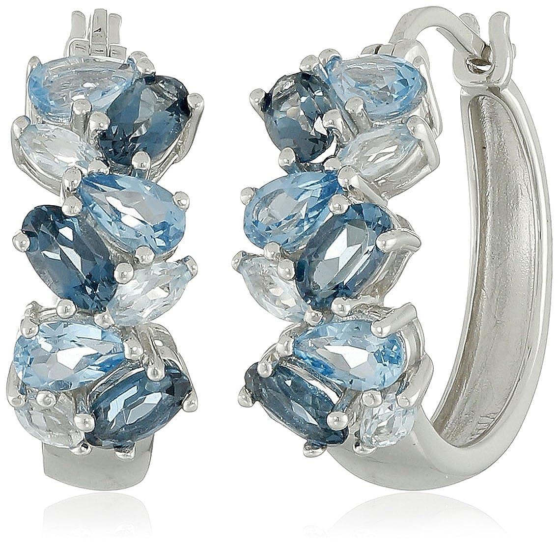 Sterling Silver Tonal Blue Topaz Hoop Earrings E21826BTSS