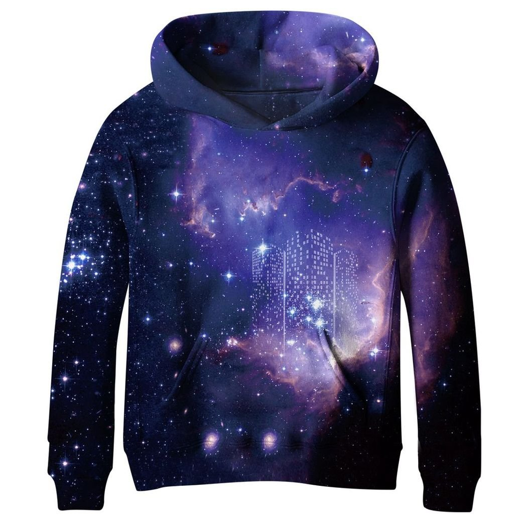 KNTOUDX Big Girls Fleece Galaxy Sweatshirts Pullover Hooded Hoodies KNSE003