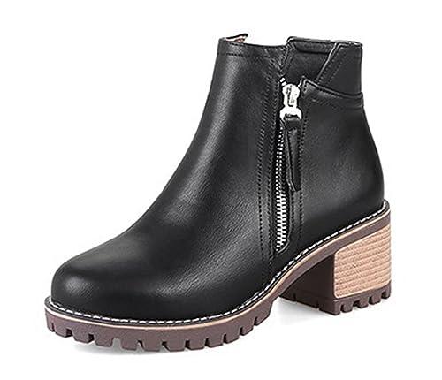 9da0e63a6a36c AgeeMi Shoes Donna Tacco a Blocco Zip Scarpe a Chiusa Inverno Polacchine   Amazon.it  Scarpe e borse