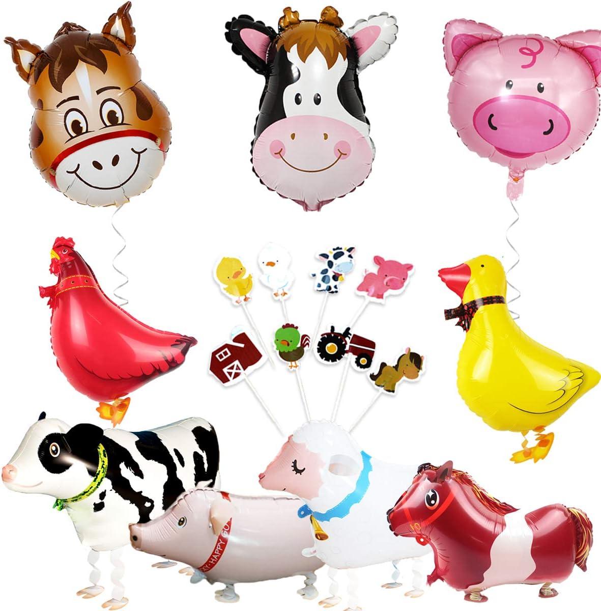 Decoraciones de animales de granja Decoraciones de fiesta de corral Globos y adorno de cupcake (pollo pato vaca oveja burro cerdo)