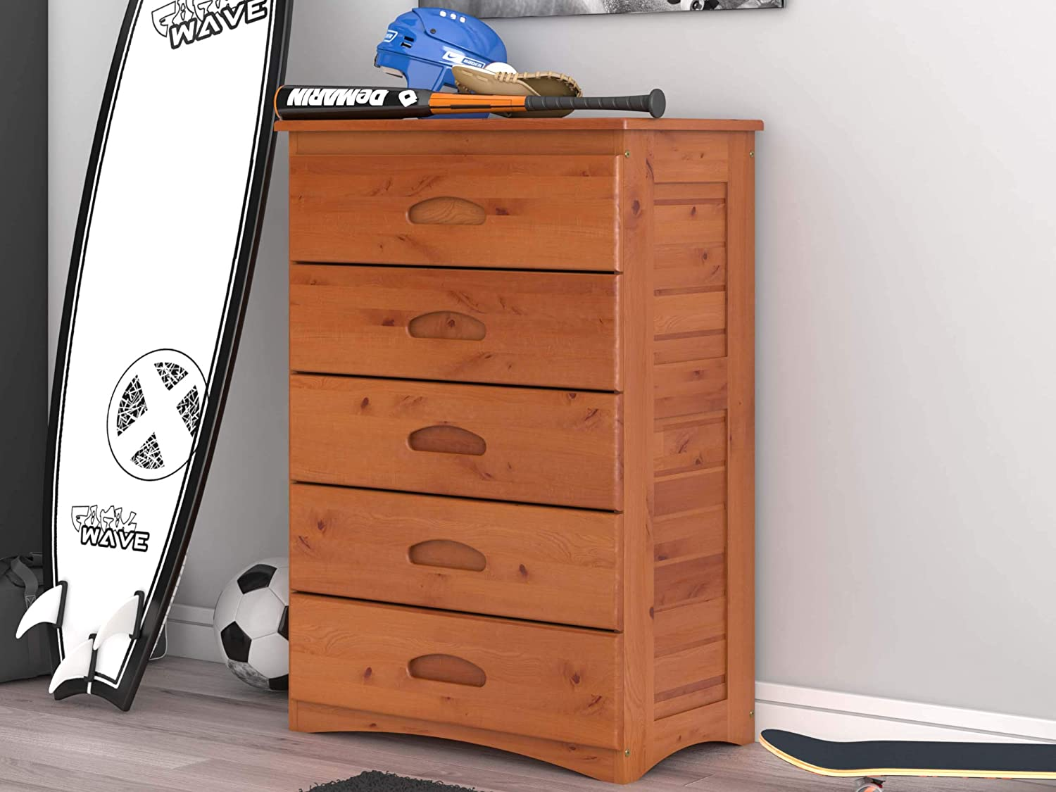 Discovery World Furniture 5 Drawer Chest, Honey