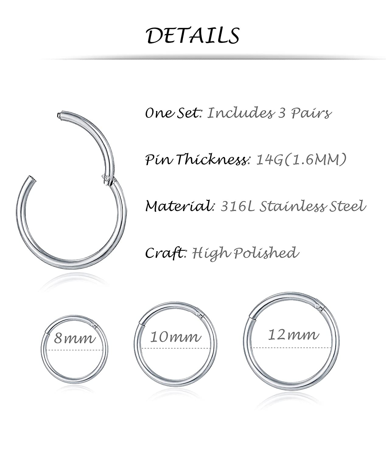 Tornito 3-8 PCS 18G-16G-14G 8-12MM 316L Steel Septum Clicker Ring Seamless Lip Nose Daith Cartilage Helix Tragus Hoop Ring NP01-6P16