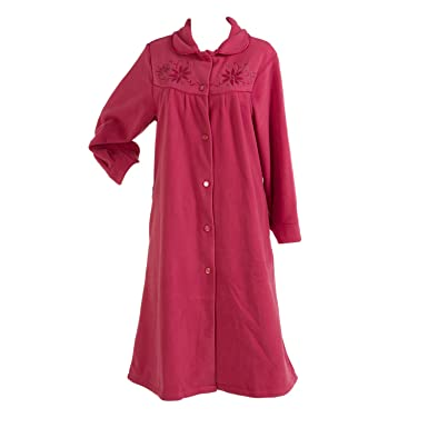 75a94933ce Slenderella Ladies Anti Pill Button Up Dressing Gown Floral Peter Pan  Collar Polar Fleece Bath Robe Pink (XXXL - UK 28 30)  Amazon.co.uk  Clothing