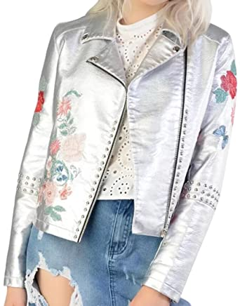 77804234ff4 Vska Womens Classic Metal Flower Embroidery Lapel Collar Faux-Leather Biker  Jacket Silver S